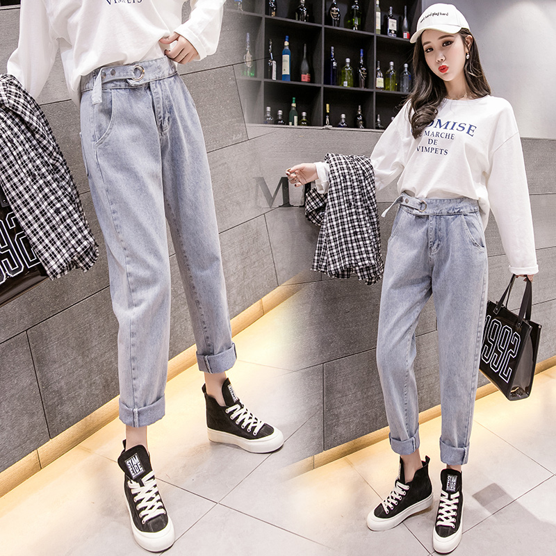 2019 spring new wild long Korean street casual wild straight women's jeans ankle-Length pants 4
