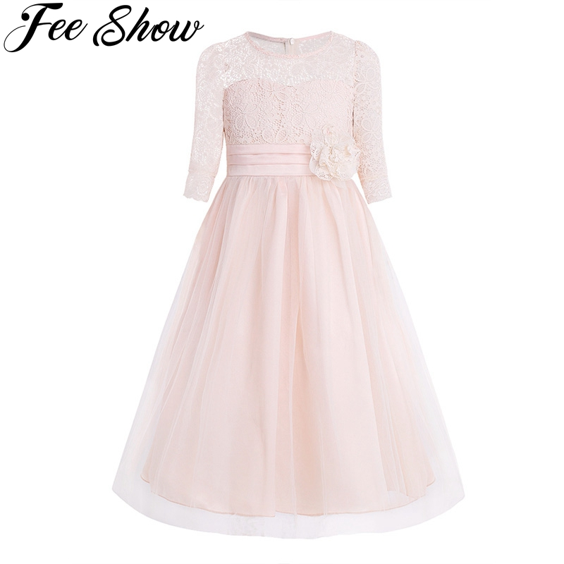 Princess Kids Flower Girl Lace Dress Half Sleeve Pageant Wedding Birthday Party Floral Lace Dress Clothes Teenage Girls Clothing formal wedding party girl dress pearl flower lace party dress with floral belt 12 years princess vestido cloth half sleeve