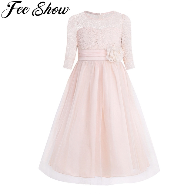 Princess Kids Flower Girl Lace Dress Half Sleeve Pageant Wedding Birthday Party Floral Lace Dress Clothes Teenage Girls Clothing