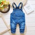 Весна осень джинсы новорожденный ребенок с бантом джинсовые комбинезоны брюки детской одежды малышей девочек мальчиков нагрудник брюки 0-3Years