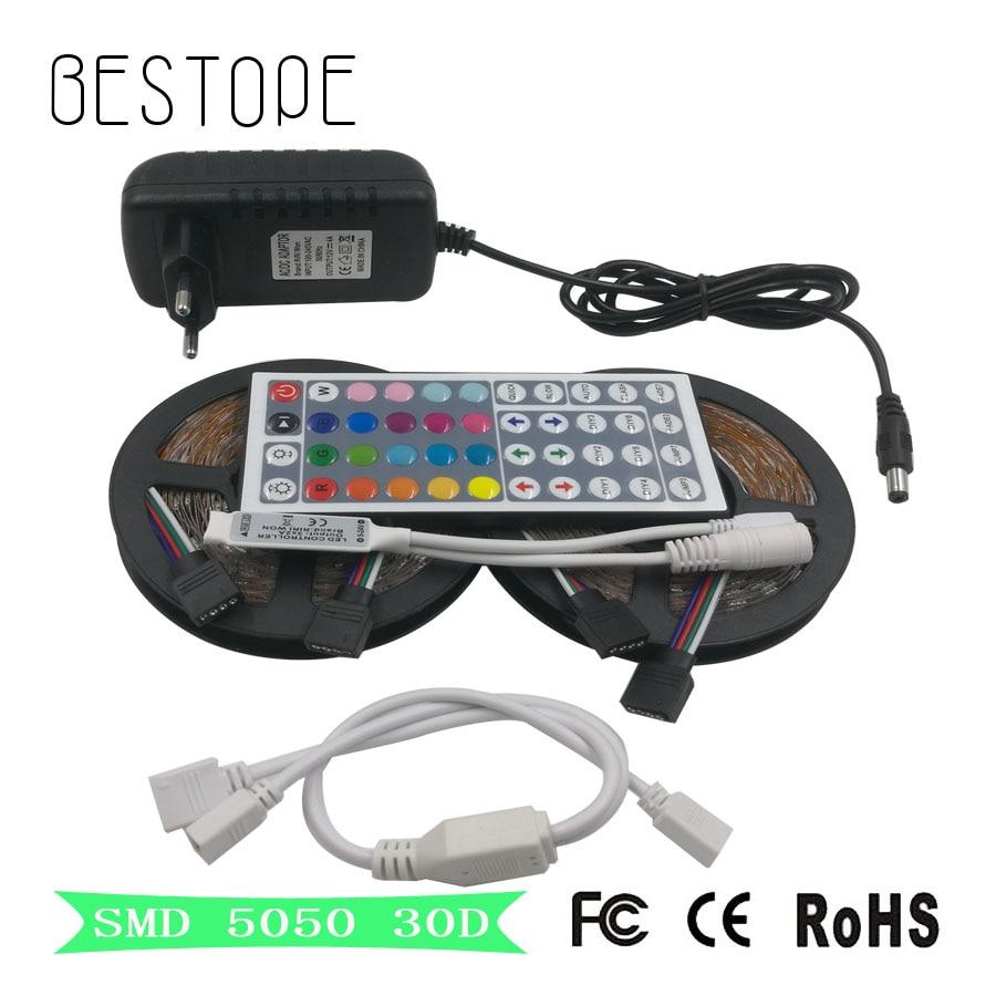 5M 10M RGB LED Strip SMD 5050 LED Tape Waterproof DC 12V RGB Flexible Light ribbon LED Lamps Tape +IR Remote Controller+adapter