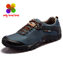 Outdoor Breathable Air Mesh Shoes Men Lightweight Walking Lace-Up Shoes Man Wade Aqua Water Anti-Skid Slip-On Trekking Shoes