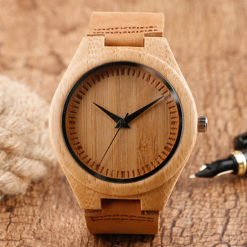 Classical Bamboo Wood Hand-made Design Quartz Wristwatch Scale literal Simple Brown Leather Band Buckle Men Ladies Clock Gift