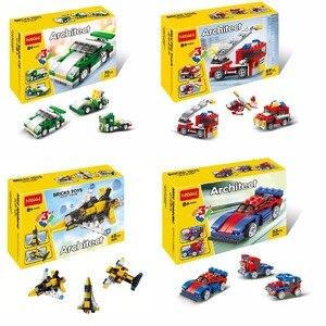 DECOOL 3101-3104 mini car 3D DIY Figures toys for children educational building blocks Birthday Gifts Christmas(China)
