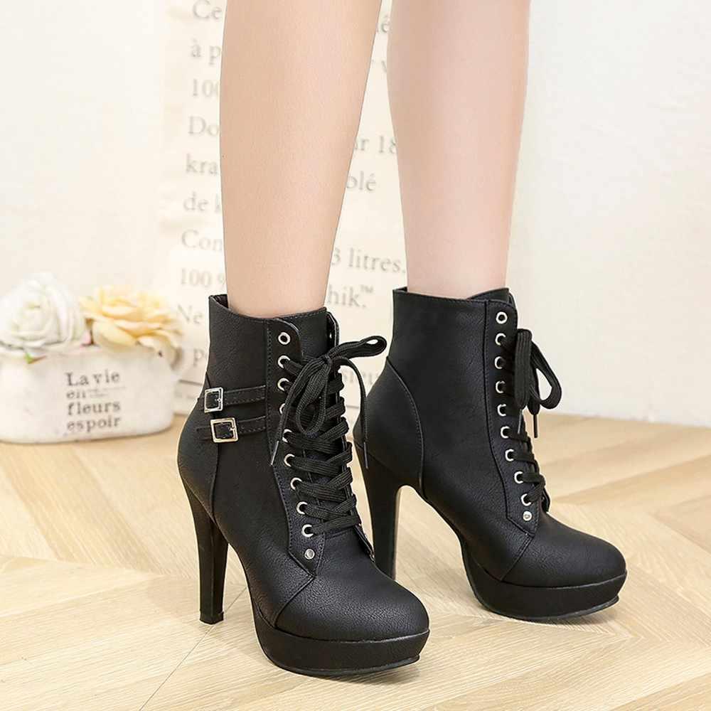 Модные женские туфли с круглым носком кожи на шнуровке ботинки на платформе Martin на высоком каблуке Женская обувь плюс размер 35-43