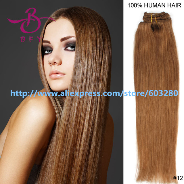 100% Human Hair Clip in Extensions Silky Straight Hairia Luxury Hair #12 Light Brown 7pcs120g 15inch Clip hair 6A Brazilian