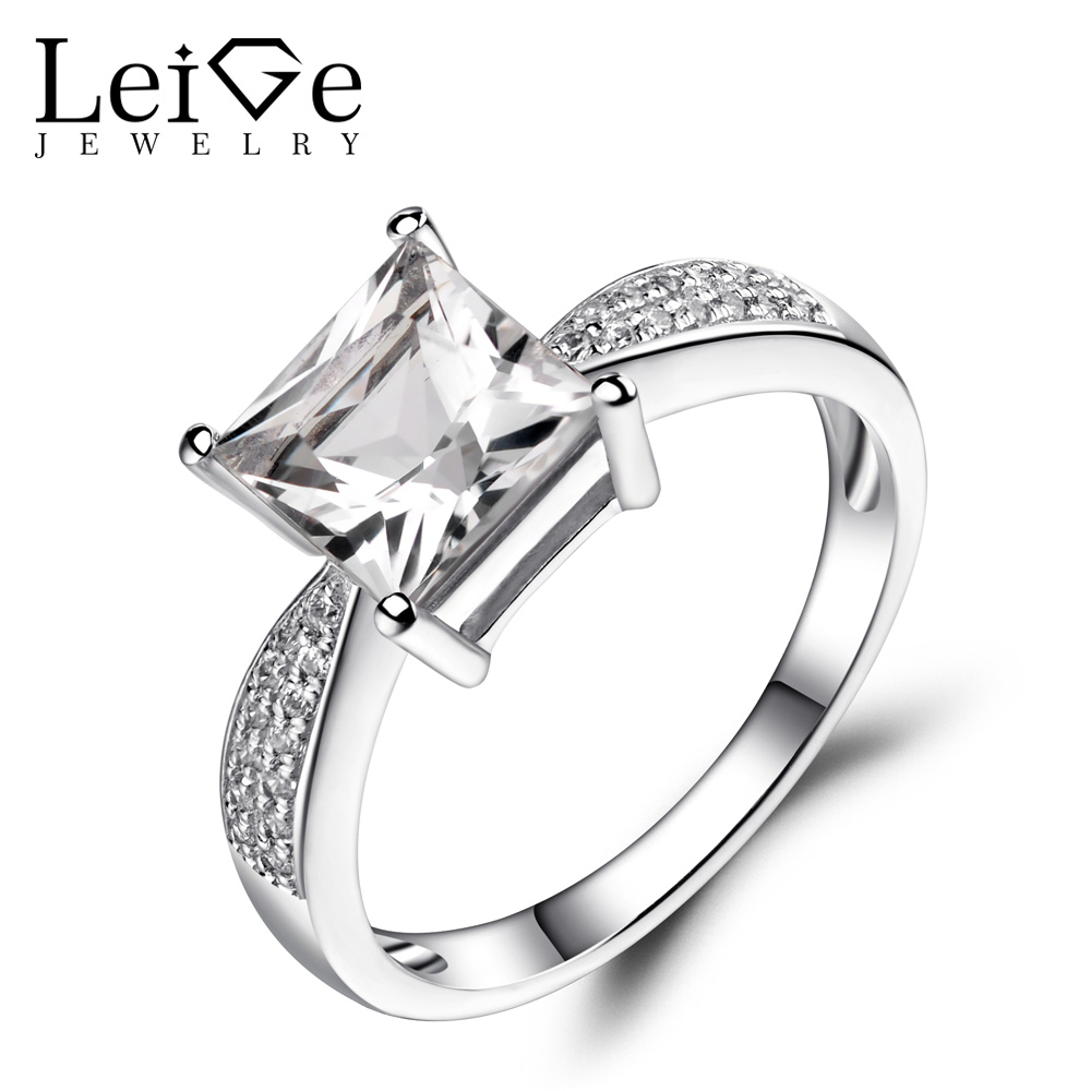 Leige Jewelry Natural White Topaz Rings 925 Sterling Silver Jewelry Princess Cut Gemstone Wedding Engagement Rings for WomenLeige Jewelry Natural White Topaz Rings 925 Sterling Silver Jewelry Princess Cut Gemstone Wedding Engagement Rings for Women