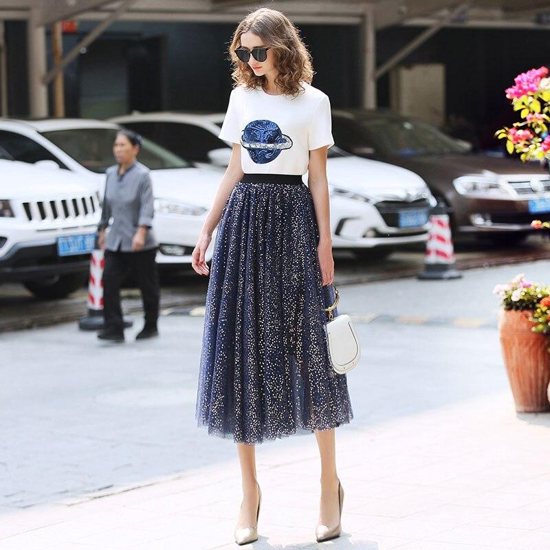 Nouveauté femmes doux taille haute deux pièces robe ensemble bleu respirant Bling Dot robes épissage Femme Blouse hauts robes