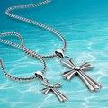 Ретро крестики кулон ожерелье, Чистый 925 чистое серебро мужчины в ювелирные изделия, Винтажный длинная мужчины крестики цепь ожерелье