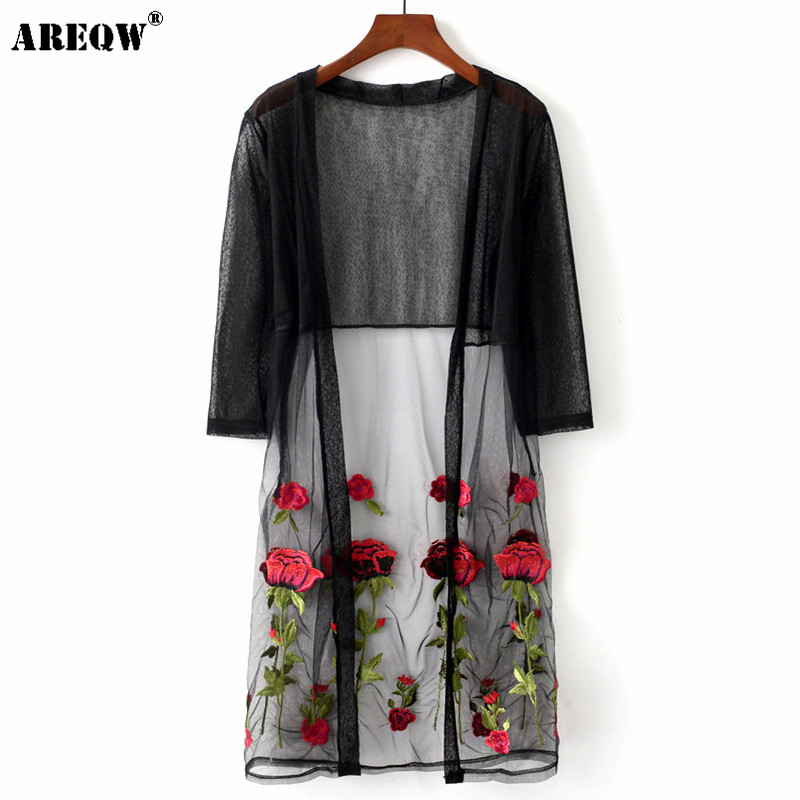 2018 Summer New European American Wind Rose Embroidery Gauze Sunscreen Long Cardigan Lace Blouse Shirt White Black