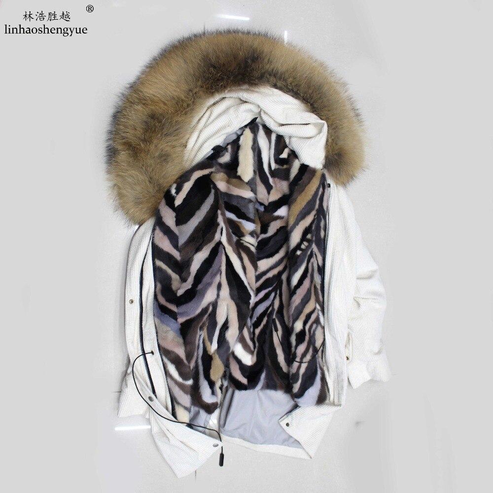 White D'hiver De Un Produit army Seul brown black Fourrure Avec Parka dark Green 2017 Blue Linhaoshengyue Être Chaude Doublure Élégant Vison Doit 4qEw4ZA