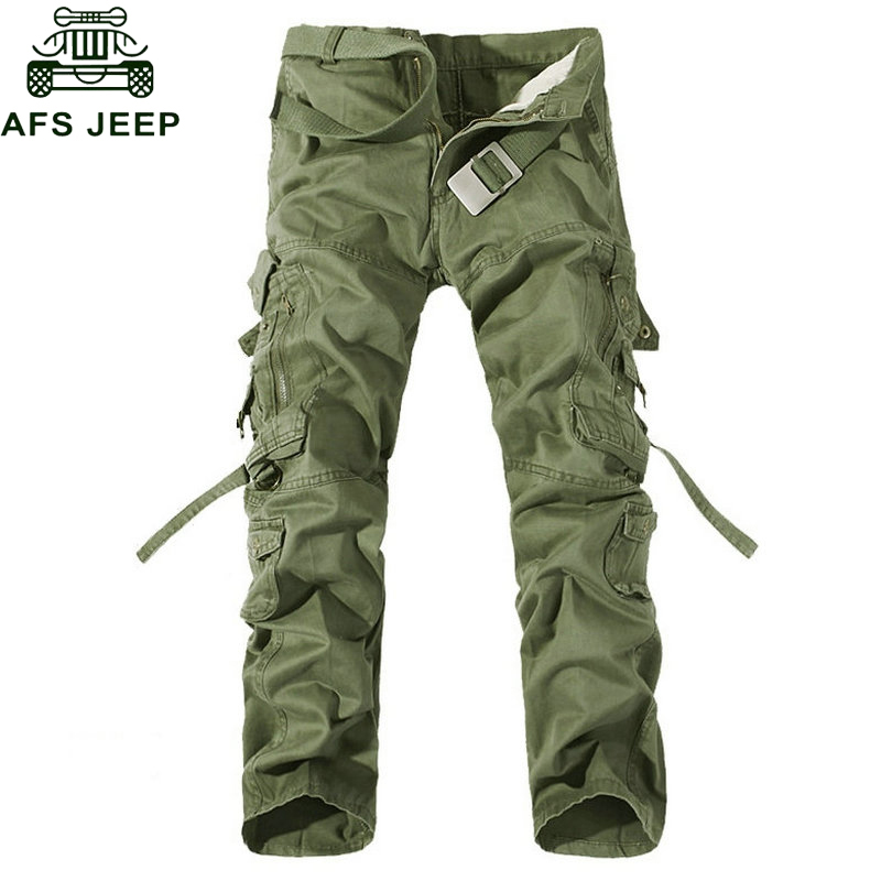 AFS JEEP Brand Military Cargo Pants Men Multi-Pocket Solid Overall Male Outdoors Long Trousers Men High Quality Tactical Pants