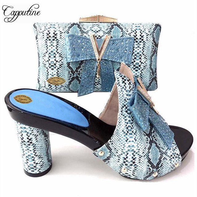 ca266376d8 Capputine Italian Woman 10CM Shoes And Bag Set African Matching Shoes And Bags  Set Nigerian High Heels Slipper Party Shoes