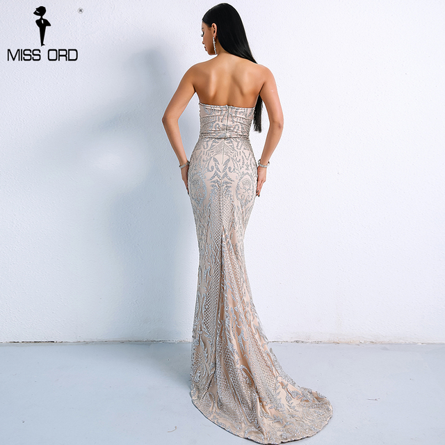 Missord 2019 Sexy Elegant Christmas Off Shoulder Glitter Backless  Geometry Female  Floor-Length Party Dress  FT8911-1 2