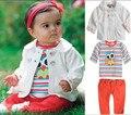 3 pcs Meninas Roupas Crianças Outono Coruja Exterior Casaco Bebê Top + T-shirt + Calças Calças Bottoms Outfit Conjunto de roupas ropa de Bebe