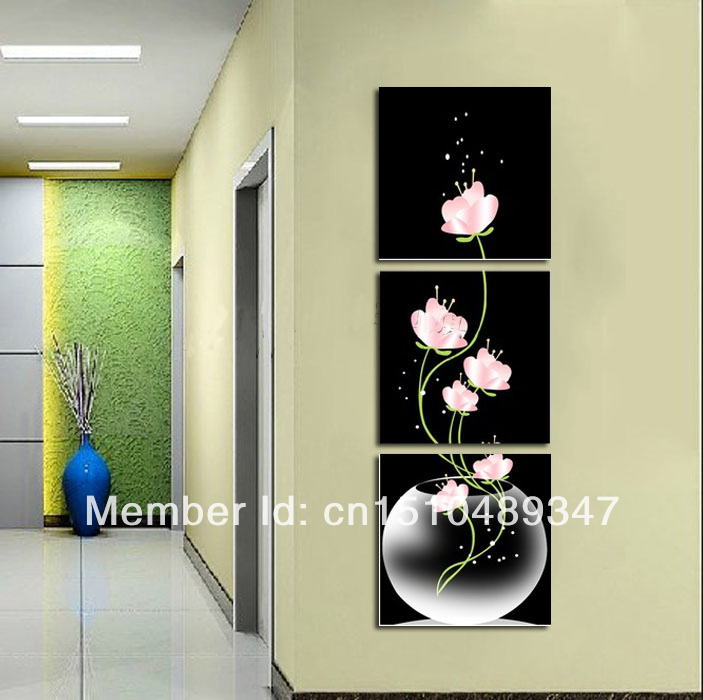 Hand Painted 3 Piece Art Sets Pink Flower In Vases Wall Modern