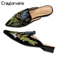 Craylorvans Najwyższej Jakości Aksamitu Mule Buty 2 cm Wygodne Plac Szpilek Luxury Design Haft Kwiaty Kobiety Buty