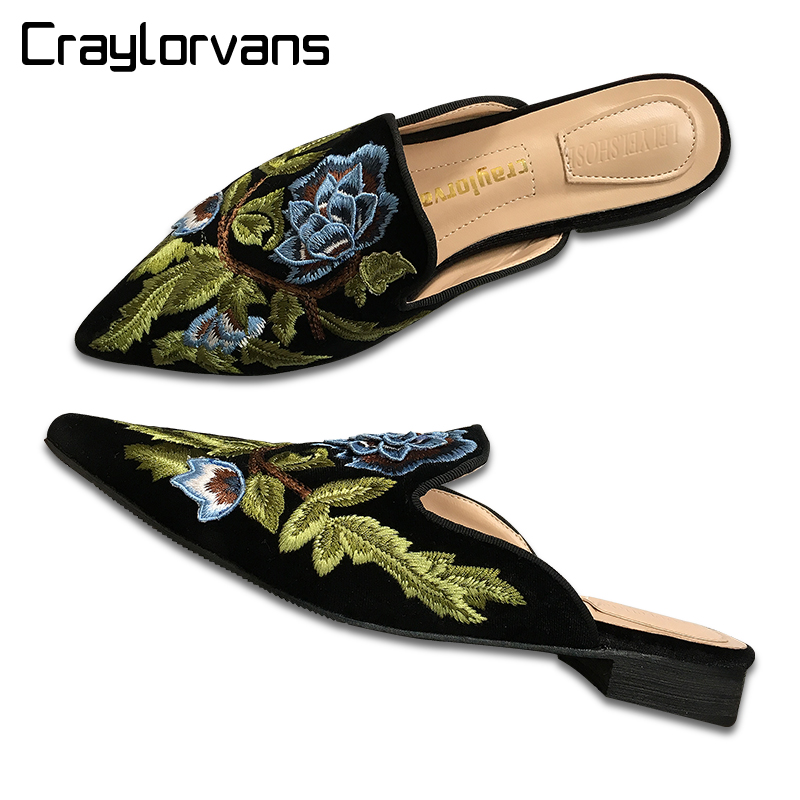 Craylorvans Top Quality Velvet Mule Shoes 2cm Comfortable Square High Heels Luxury Design Embroidery Flowers Women Shoes a three dimensional embroidery of flowers trees and fruits chinese embroidery handmade art design book