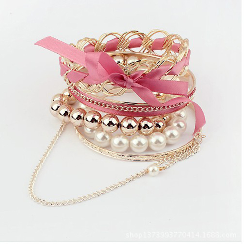 Pearl Ornaments Gift Party Charm Simple Original Trendy Unique Bowknot Trendy All-Match Bracelet Fashion Weave Multi-storey
