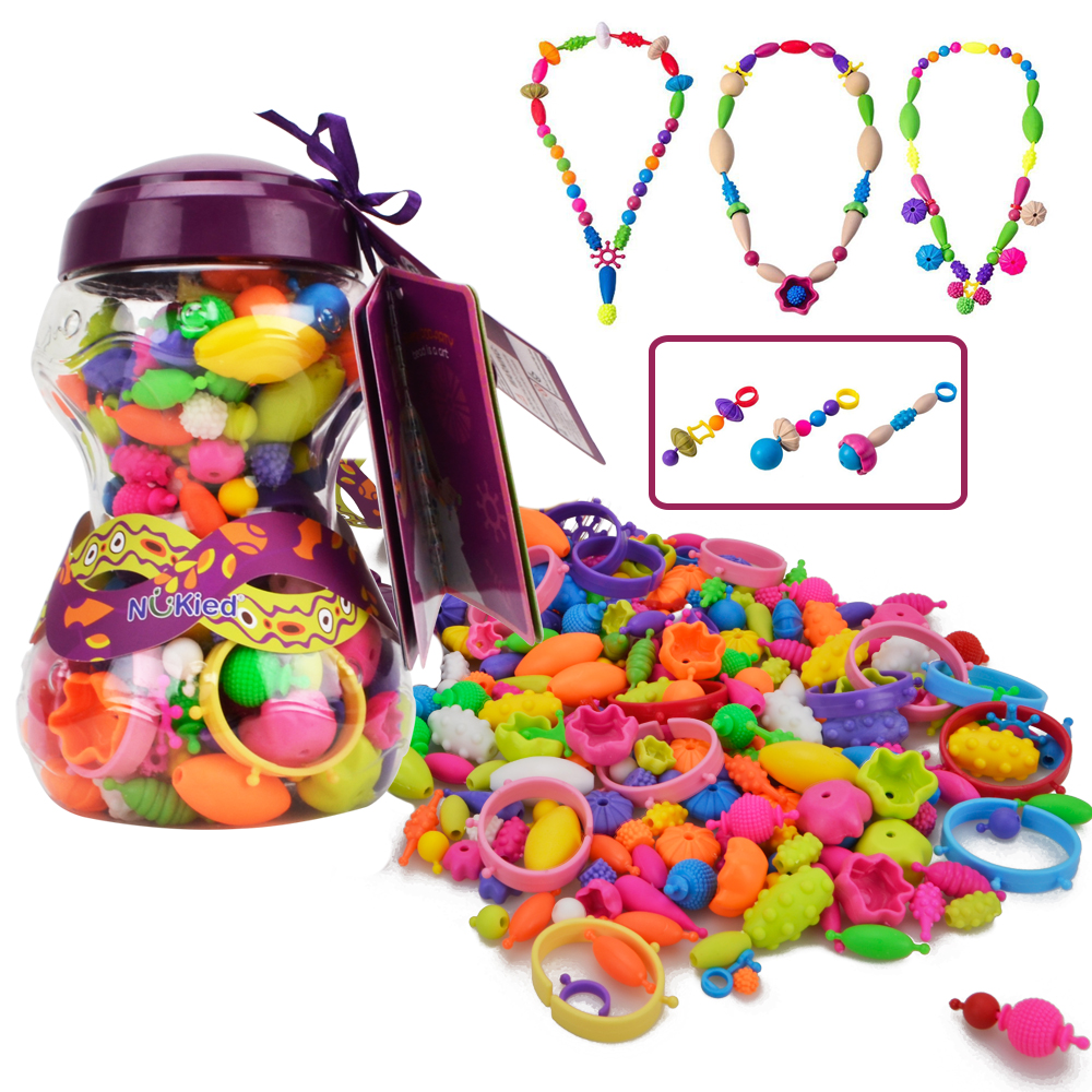 Snap Pop Beads Girls Toy 252 Pieces DIY Jewelry Kit Fashion Fun For Necklace Ring Bracelet Art Crafts Gifts