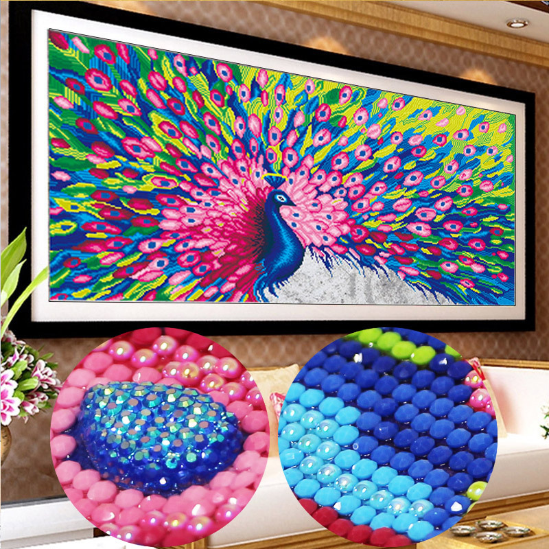 120 64cm Diy 5D diamond painting peacock Round Diamond mosaic Painting Handmade Cross Stitch Kits special