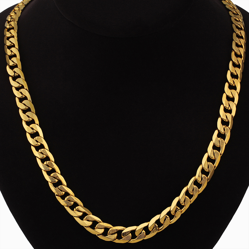 Hip Hop Jewelry Long Chunky Cuban Link Chain Golden Necklaces With Thick Gold Color Stainless Steel Neck Chains For Men Jewelry
