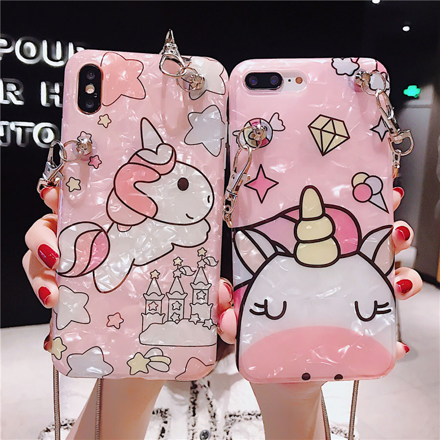 unicorn chain strap tpu case for iphone 7 8 6 6s plus XR XS MAX X case cover cute cartoon glitter foil soft silicon phone bag in Fitted Cases from Cellphones Telecommunications