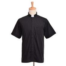 Pastor พระสงฆ์เสื้อ Priest เครื่องแต่งกาย TAB COLLAR สีดำ Minister Preacher เสื้อแขนสั้น
