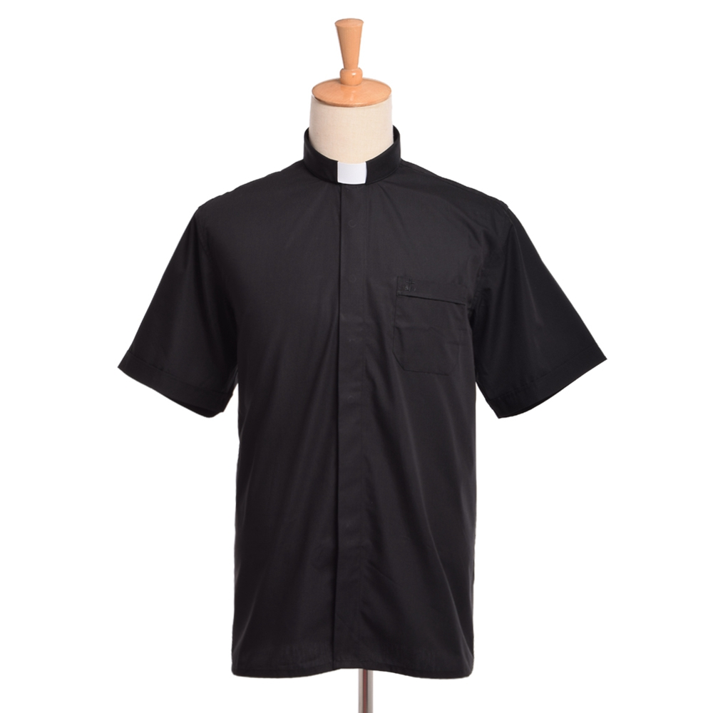Image 2 - Priest Costume Clergy Tab Collar Shirt Men/Women Black Minister Preacher Priest Short Sleeve Tops-in Holidays Costumes from Novelty & Special Use