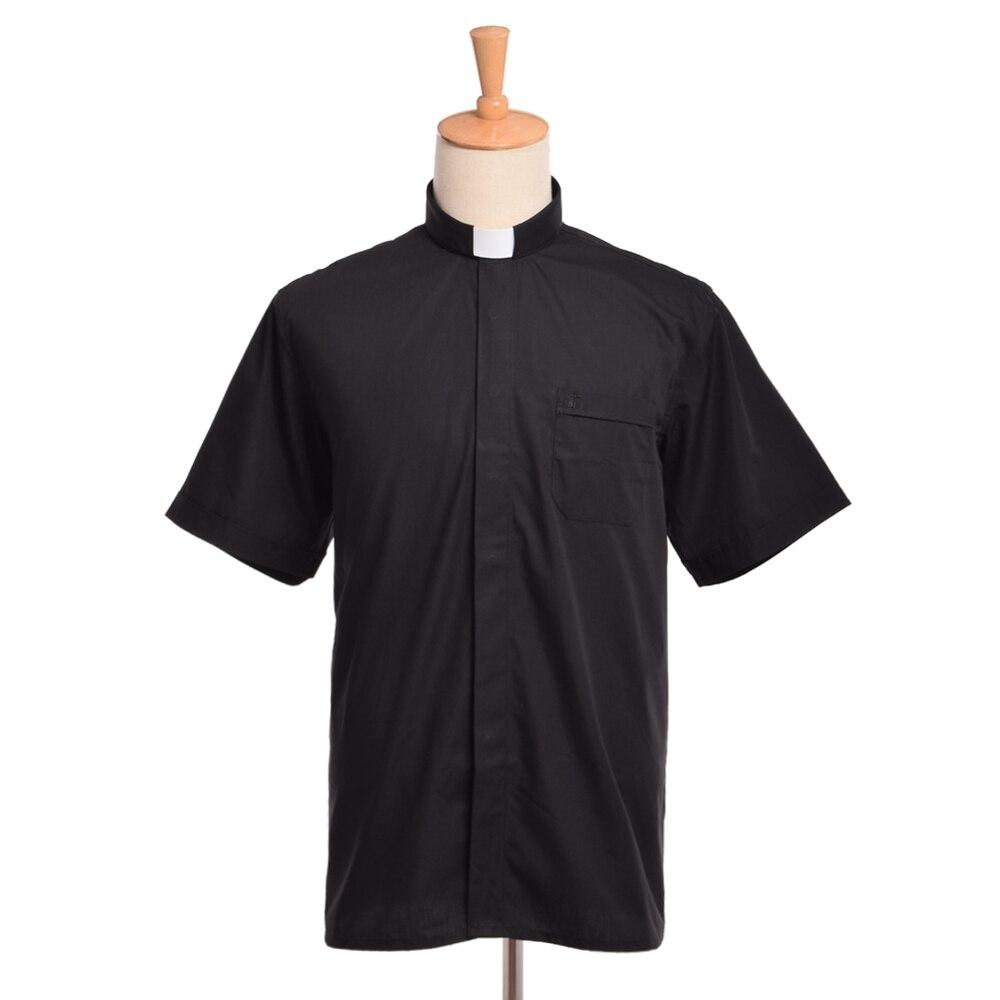 Priest Costume Clergy Tab Collar Shirt Men Women Black Minister Preacher Priest Short Sleeve Tops(China)
