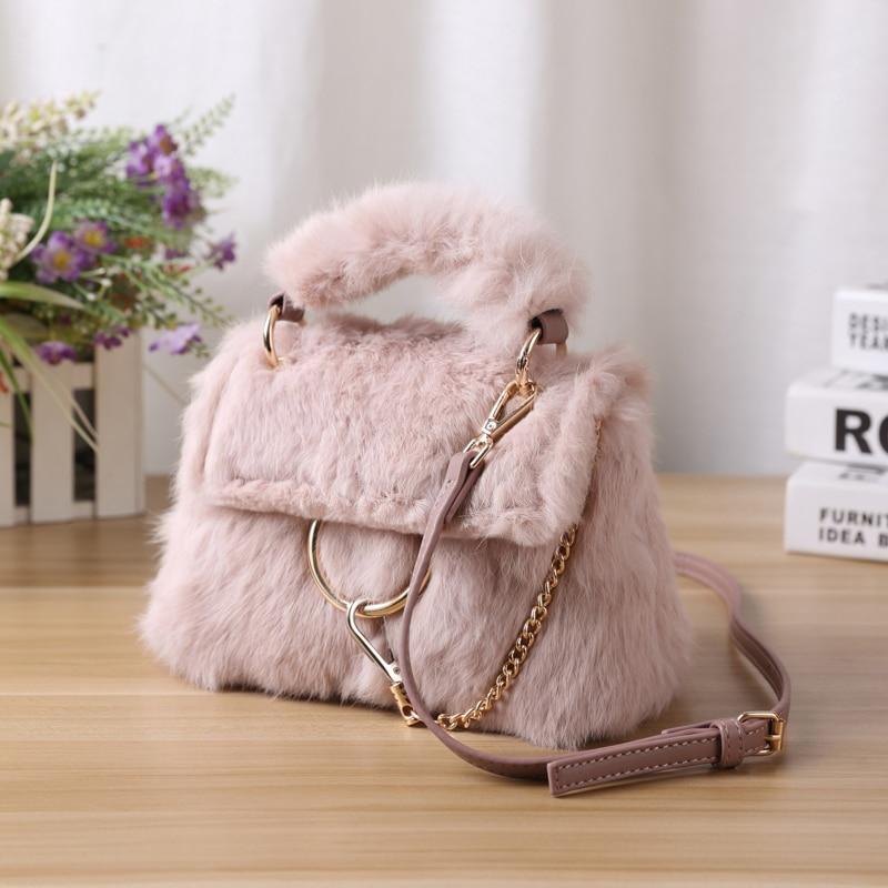 2018 New Style Rabbit Fur Women Handbags Winter Chain Shoulder Bag PU Leather lady Messenger Bag Real fur Shoulder Bag Tote 275 стоимость