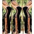 2017 Nova lingerie sexy hot preto strapless Side dividir lace vestido longo erótico lingerie de cetim sexy babydoll trajes sexy mulheres