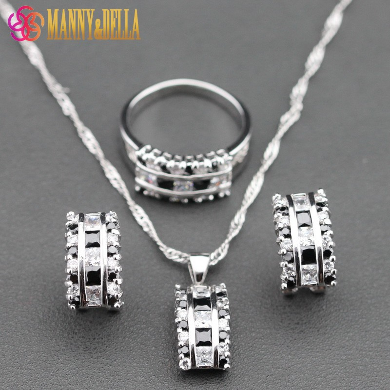 Jewelry-Sets Black Zircon Necklace/ring Magic-Sterling-Silver White Women for TZ74