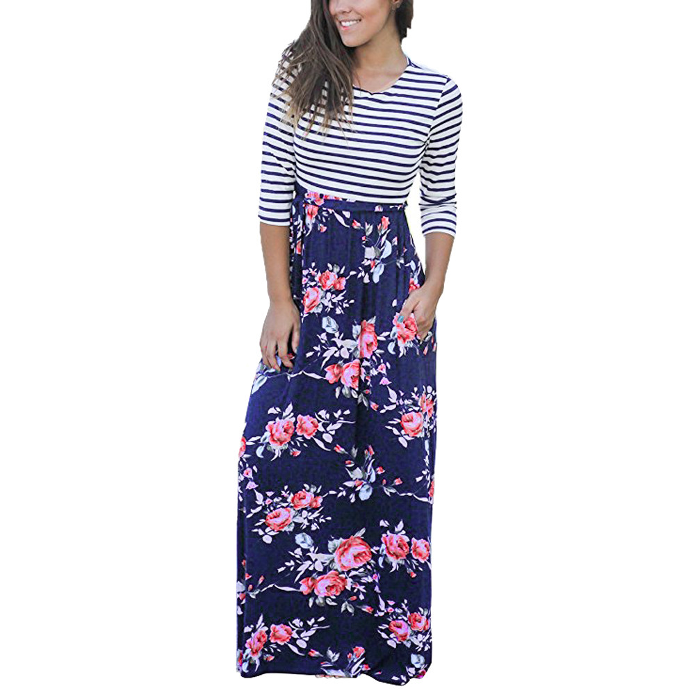 Women's Clothing Women Striped Floral Maxi Dress Autumn Three Quarter Length Sleeve O-neck Pocket Casual Dressess Bohemian Long Dress #10