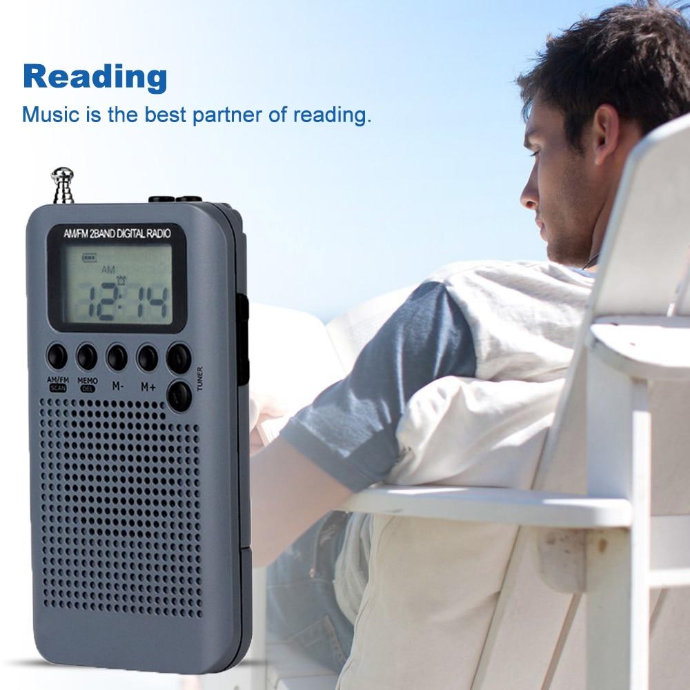 Mini Digital Portable LCD AM FM Radio Dual Band Stereo Receiver with Headphone