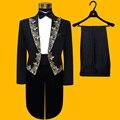 (Chaqueta + pantalones) traje conjunto masculino traje de la etapa de baile en la cadena nacional vestido de novia chaqueta pantalones partido formal de esmoquin traje de mostrar