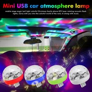 Image 1 - מתנה לחג המולד LED רכב USB אווירה אור DJ RGB מיני צבעוני מוסיקה צליל מנורת עבור USB C טלפון משטח