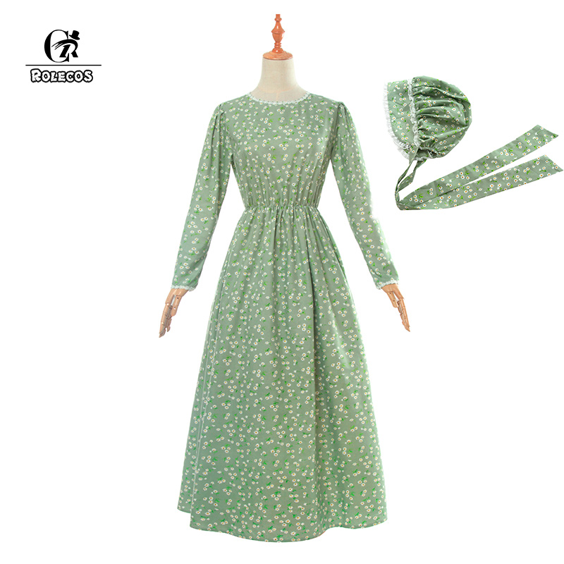 ROLECOS Maid Lolita robe chapeau victorien robe médiévale coton femmes rétro Vintage robe à manches longues belle Costume fête