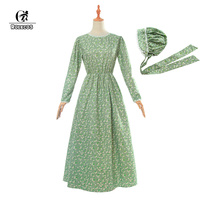 ROLECOS Maid Lolita Dress Hat Victorian Medieval Dress Cotton Women Retro Vintage Dress Long Sleeve Lovely Costume Party
