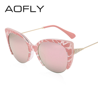 AOFLY Cat Eye Sunglasses Semi Rimless Glasses Fashion Women Brand Designer Mirror Sun Glasses Vintage Alloy
