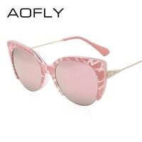 AOFLY Cat Eye Sunglasses Semi Rimless Glasses Fashion Women Brand Designer Mirror Sun Glasses Vintage Alloy