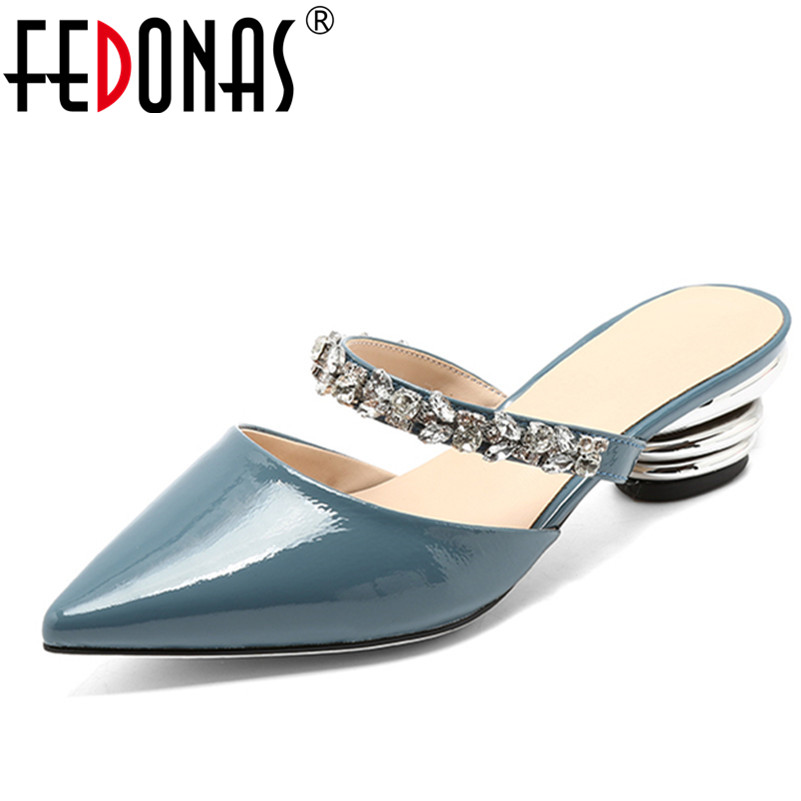 FEDONAS  Women Pumps 2018 High Heels Sexy Rhinestone Pointed Toe Slip-on Wedding Party Shoes Woman Spring Summer Slippers womens shoes high heel woman pumps spring autumn basic silk slip on pointed toe thin heels sexy wedding shoes ljx04 q