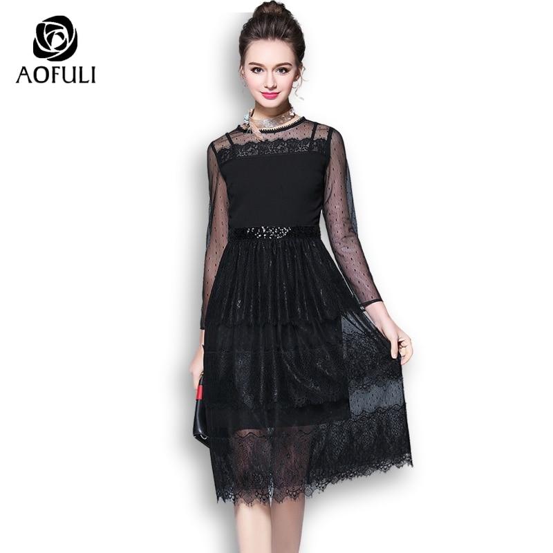 Aofuli M Xxxl 4xl 5xl Women Little Black Dress For Buffet Party