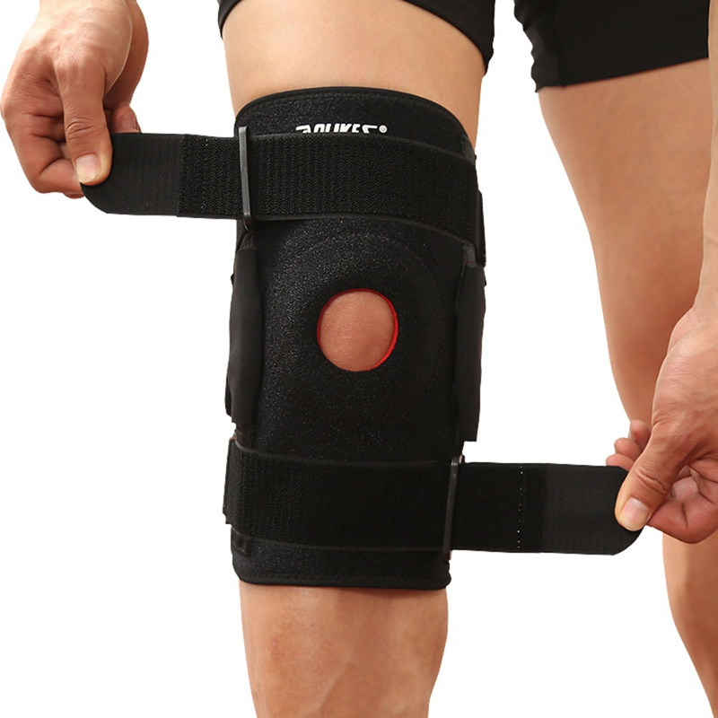 Sport Man Women Knee Brace with Polycentric Hinges Professional Sports Safety Knee Support Black Knee Pad Guard Protector Strap