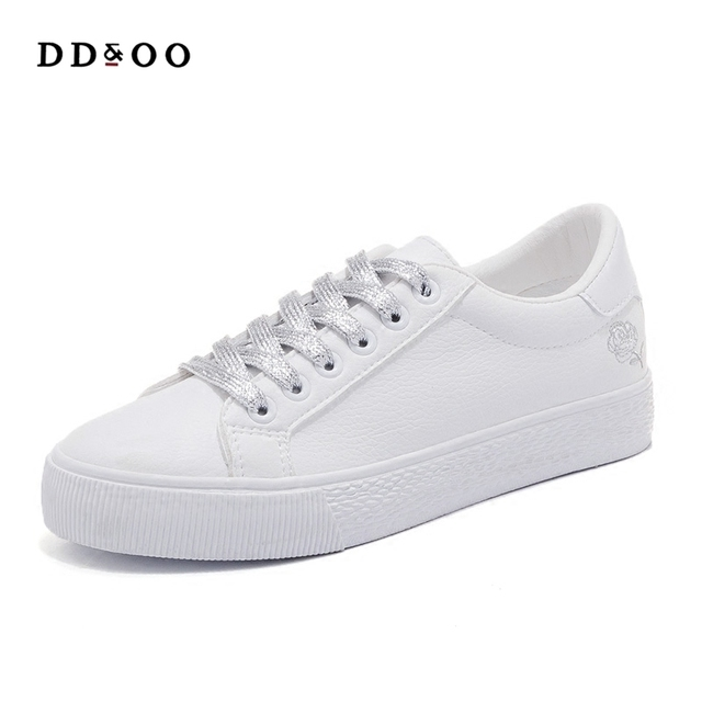 2018 spring new fashion shoes woman flowers casual high platform solid color pu leather women casual white shoes sneakers in womens vulcanize shoes 2018 spring new fashion shoes woman flowers casual high platform solid color pu leather women casual mighty