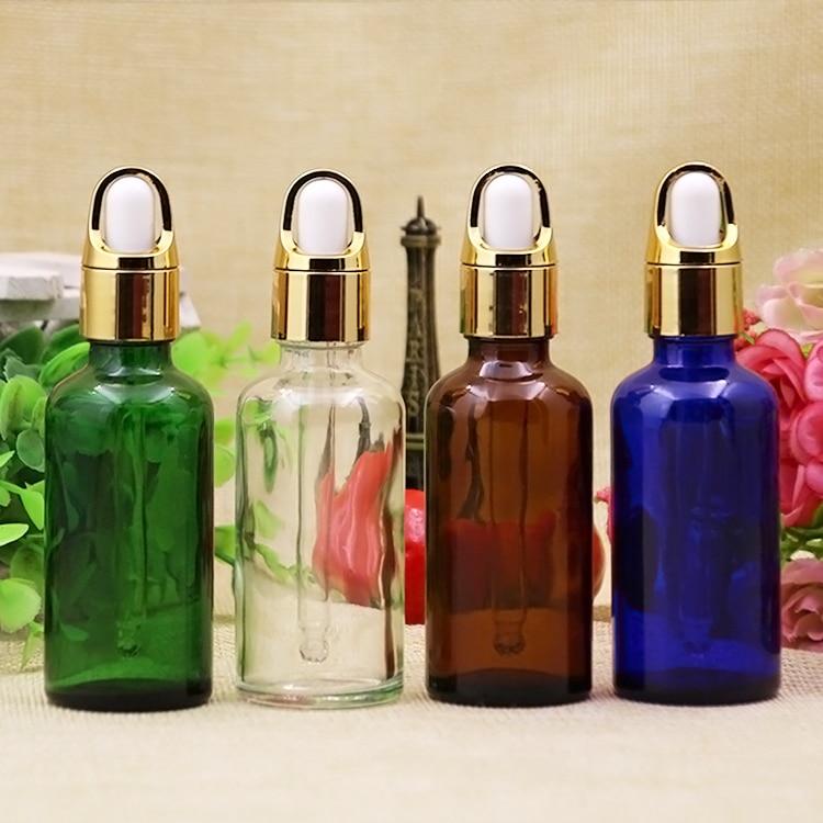 10/20 pièces vide 50 ml verre compte-gouttes bouteille pour huiles essentielles aromathérapie Cigarette liquide or fleur panier anneau goutte couverture