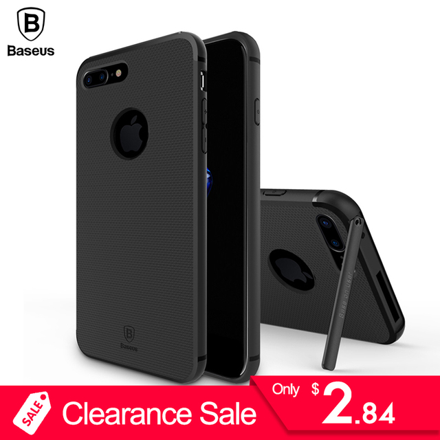super popular c28be 85d1c US $2.84 5% OFF|Baseus Phone Cover For Apple iPhone 7 Case For iPhone 7  Plus Case Kickstand Holder Hard Back Cover Fashion Hermit Bracket Case-in  ...