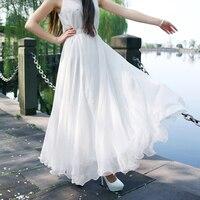 Azul Branco Vermelho Saias Até O Chão Mulheres Summer Long Maxi Chiffon Saias Faldas Mulher Jupe Feminino Saias de Cintura Alta Plissada