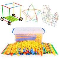 4D DIY Straw Building Blocks Plastic Stitching Inserted Construction Assembled Blocks Bricks Educational Toys for Children Gift