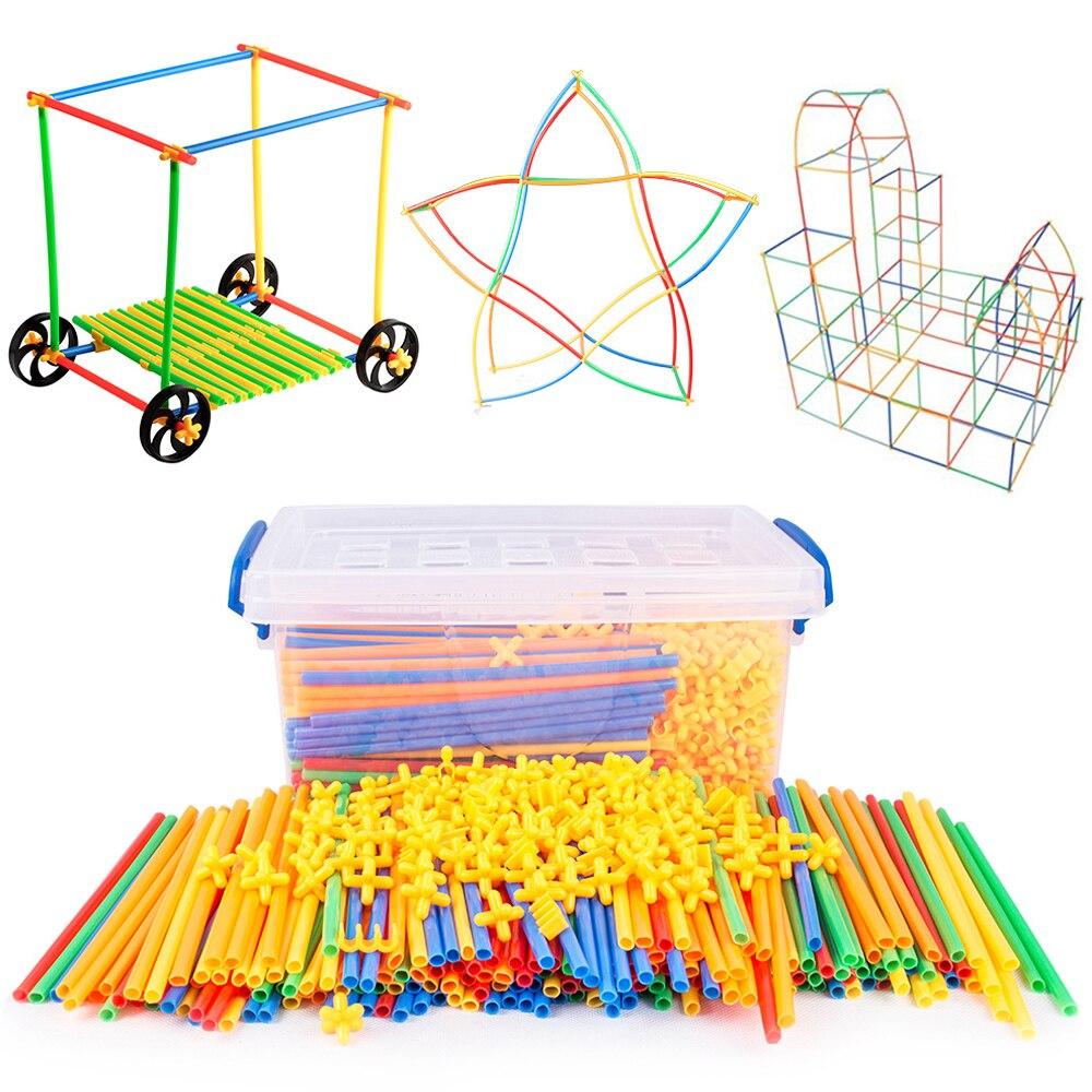 4D bricolage paille blocs de Construction en plastique couture inséré Construction blocs assemblés briques jouets éducatifs pour enfants cadeau